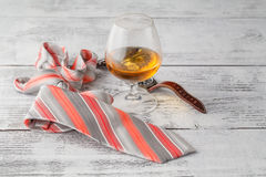 Coffee and drink. Cup of Coffee and Cognac Brandy Whiskey Aperit Stock Photo