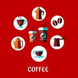 Coffee drink flat concept Royalty Free Stock Photography