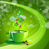 Coffee drink green cup beverage background Royalty Free Stock Image