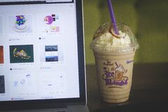 Coffee drink and laptop Stock Photo