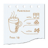 Coffee drink recipe. Vector illustration coffee drink recipe Americano Stock Photography