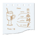 Coffee drink recipe. Vector illustration coffee drink recipe Glace Stock Photo