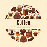 Coffee drink round poster for cafe design Royalty Free Stock Photo