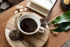 Coffee on table and wodden stock photos