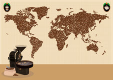 Coffee drinkers infographic or use around the world map concept. Editable Clip Art. Stock Image