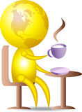 Coffee drinking. 3d glob character drinking coffee in restaurant Stock Photos