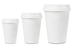 Coffee drinking cup sizes. Different blank coffee drinking cup sizes Stock Photography