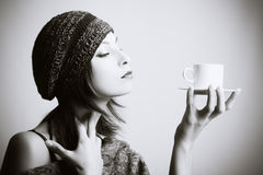 coffee drinking woman young Στοκ Εικόνες
