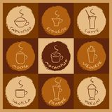 Coffee drinks. Vector illustration of different coffee drinks vector illustration