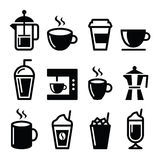 Coffee drinks, coffee makers icons set Stock Photo