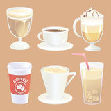 Coffee drinks collection Stock Photography