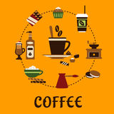 Coffee drinks and desserts flat icons Stock Photo