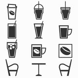Coffee drinks icons in coffee shop on white backgr Royalty Free Stock Images