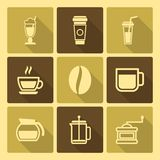 Coffee Drinks Icons With Long Shadow Royalty Free Stock Photography