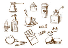 Coffee drinks, ingredients and desserts sketches Stock Images