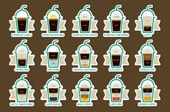 Coffee drinks with recipes icons set Royalty Free Stock Images