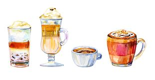 Coffee drinks watercolor illustration. Hand drawn sketch set with four cups of different drinks vector illustration
