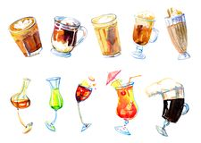 Coffee drinks and alcohol cocktails watercolor set. Hand drawn sketch illustration isolated on white background royalty free illustration