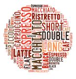 Coffee drinks words cloud collage. Index of coffee drinks words cloud collage, poster background, coffee concept on ball shape royalty free illustration