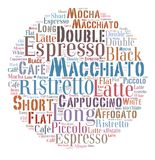 Coffee drinks words cloud collage. Index of coffee drinks words cloud collage, poster background, coffee concept on ball shape stock illustration
