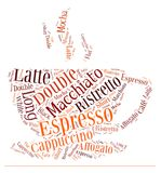 Coffee drinks words cloud collage. Index of coffee drinks words cloud collage, poster background, coffee concept on beautiful cup shape stock illustration
