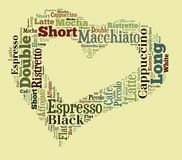 Coffee drinks words cloud collage. Index of coffee drinks words cloud collage, poster background, love coffee concept on heart shape stock illustration