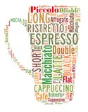 Coffee drinks words cloud collage. Index of coffee drinks words cloud collage, poster background, coffee concept on beautiful cup shape royalty free illustration