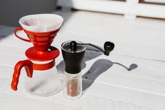 Coffee drip set on wooden table stock images