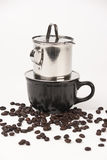 Coffee dripping in vietnamese style. On white background Royalty Free Stock Photography