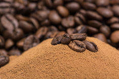 Coffee and dry roasted beans Royalty Free Stock Images