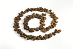 Coffee e-mail. E-mail symbol from coffee beans Royalty Free Stock Photo