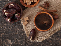 Coffee and eastern dates Stock Images