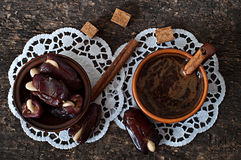 Coffee and eastern dates Royalty Free Stock Image