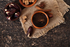 Coffee and eastern dates Stock Photos