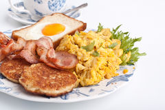 Coffee, eggs and bacon Stock Images