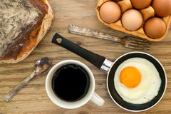 Coffee and eggs breakfast background Stock Image