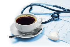 Coffee and electrocardiogram Stock Photography