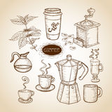 Coffee elements hand drawn illustration Stock Photography