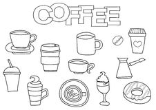 Coffee elements hand drawn set. Coloring book template.  Outline doodle Royalty Free Stock Image