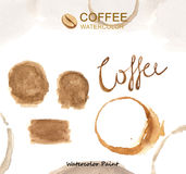 Coffee elements , Watercolor paint high resolution Stock Photography