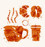 Coffee elements of watercolor stains. Royalty Free Stock Photo