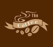 Coffee emblem in brown and white Stock Photo