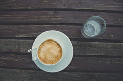Coffee. Enjoying nature and coffee on a brown table Stock Photo