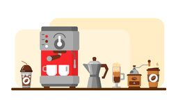 Coffee equipment banner. Vector illustration stock illustration