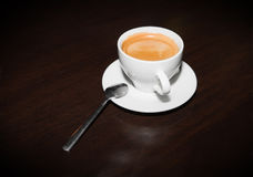 Coffee espresso. White cup with black coffee espresso Royalty Free Stock Image