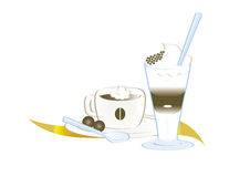 Coffee espresso and coffee latte. Cup of espresso coffee with whipped cream and glass of coffee latte, with chocolate and little spoons vector illustration