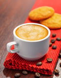 Coffee, espresso. Coffee cup and cookies on a table Stock Images