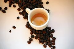 Coffee, Espresso. Drinks and food. Coffee beans royalty free stock photo