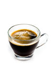 Coffee Espresso in  Glass cup with foam white background Royalty Free Stock Photography