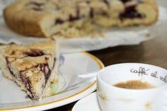 Coffee espresso and jam tart Stock Photo